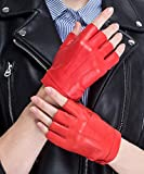 CHULRITA Women's Leather Driving Gloves Sheepskin Fingerless Motorsports Retro Half Finger Motorcycle Cycling Gloves (Red, S)