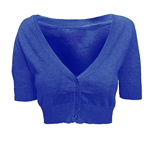 Solid Ruched Half Sleeve Button Down Knit Cropped Cardigan L Royal Blue (Juniors Cardigan Sweater)