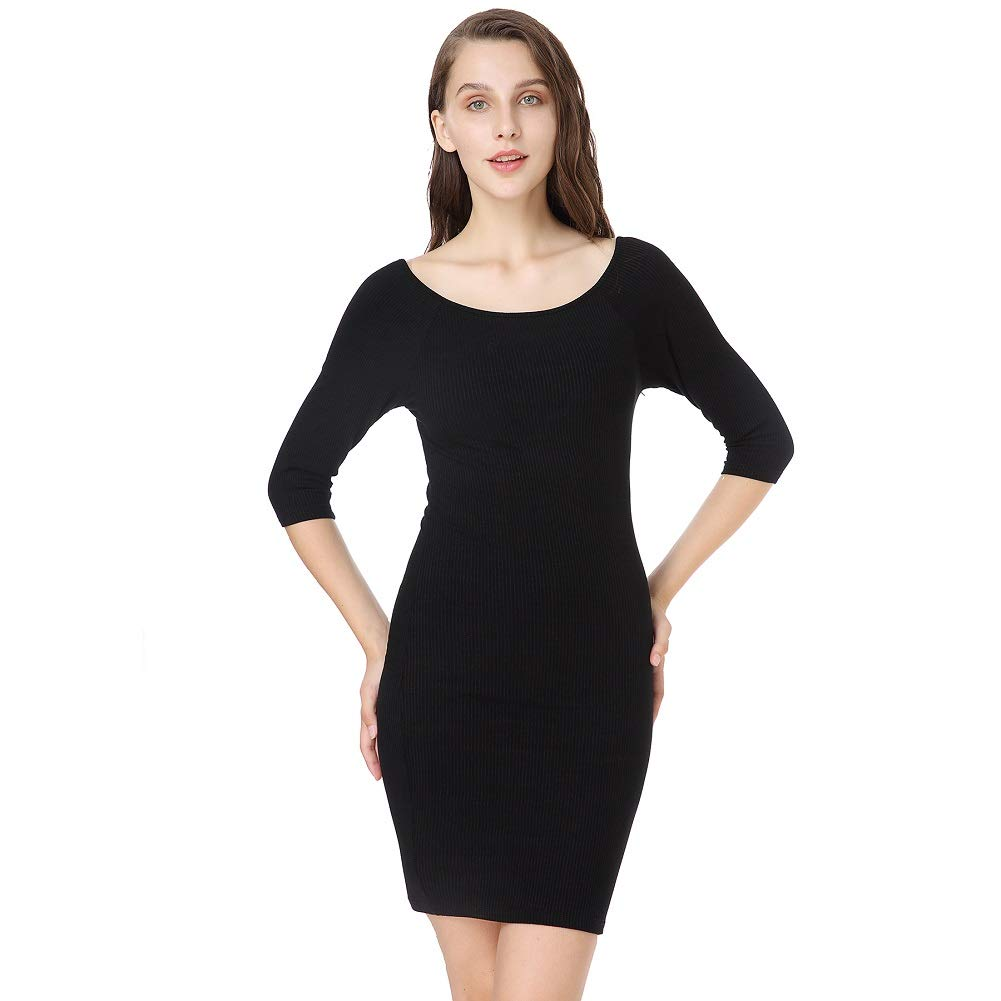 Black Mostnica Women's Straps Half Sleeve Bodycon Dress Cocktail Dress