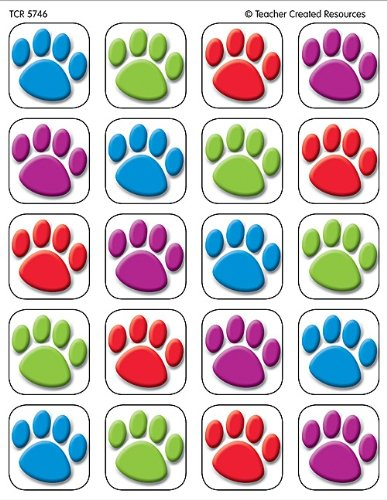 Big Dog Red Stickers - Teacher Created Resources Colorful Paw Prints Stickers (5746)