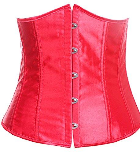 E-brillance Veste De Style Rocker Féminin Co Corset De La Mode Underbust Taille De Cincher Rouge