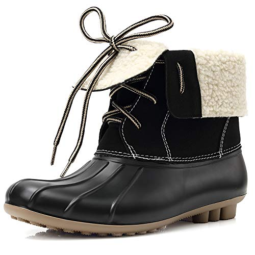 GLORYA Duck Boots for Women, Waterproof Faux Fur Lined Foldable Cuff Lace Up Winter Mid Calf Ankle Rain Snow Boots Booties