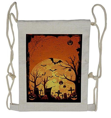 Lunarable Halloween Drawstring Backpack, Grungy Graveyard Cemetery, Sackpack Bag ()