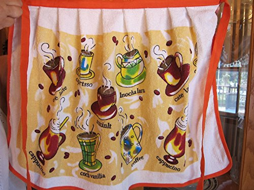 Coffee Apron - Crystal Springs Waist Apron Kitchen Towel by Cutely designed apron and terry cloth towel in one - 5 Cute designs to choose from. (Coffee Cups)