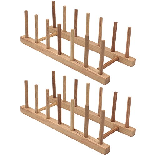 Zicome Set of 2 Bamboo Wooden Dish Rack Plate Rack Stand Pot Lid Holder Kitchen Cabinet Organizer Wooden Dish Rack
