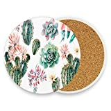 Watercolor SUCCULENTS & CACTUSES Coasters, Protection for Granite, Glass, Soapstone, Sandstone, Marble, Stone Table - Perfect Drink Coasters,Round Cup Mat Pad for Home, Kitchen or Bar 1 piece