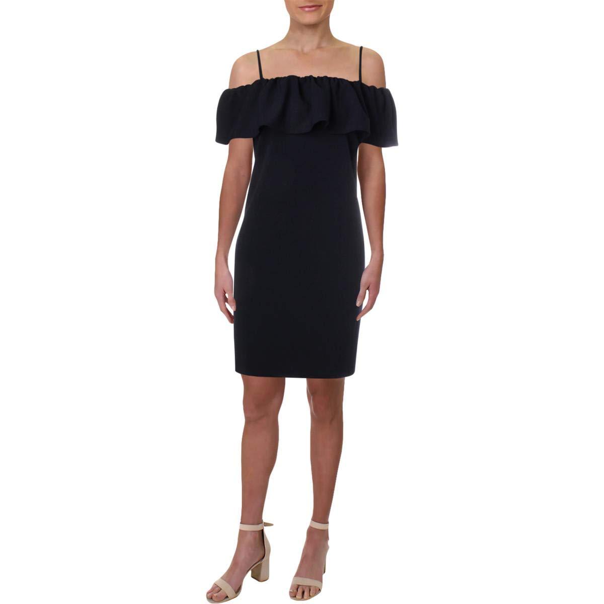 Lighthouse Navy Lauren Ralph Lauren Womens Catalia Cold Shoulder Ruffled Cocktail Dress