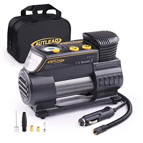 Tire Inflator, AUTLEAD 12V Portable Air Compressor - Compact Auto Tire Pump 120PSI with Digital Gauge, Emergency Light, Fast Inflating for Car, Bicycle, Ball, Balloon - ()