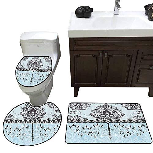 3 Piece Extended Bath mat Set Elegant Vintage