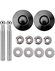 """DEDC Bumper Quick Release Latch License Plate Lock Clip Car Hood Pins Lock 1.25"""" for Bumper Hood Licence Plate Cabinet Black Alloy 2 Pack"""