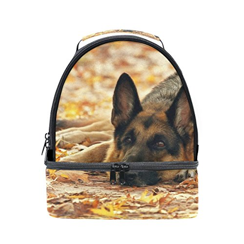 My Daily Kids Lunch Box German Shepherd Dog Autumn Leaves Reusable Insulated School Lunch Tote Bag