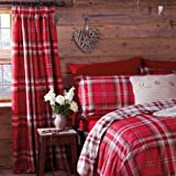 Catherine Lansfield Kelso 66 x 72-inch Cotton Rich Curtains, Red