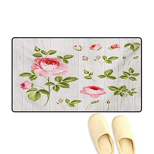 Bath Mat,Vintage Rose Petals Over Wooden Board Background Wedding Romance Artsy Design,Door Mats for Inside,Baby Pink Khaki,24