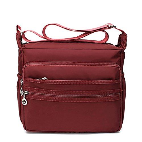 Light-weight Nylon Shoulder Crossbody Bags - Messenger Handbag Purse (Dark Red,L) Cross Body Messenger Handbag