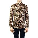 Versace Collection Men's Cotton Swirl Print Dress Shirt Brown/Black
