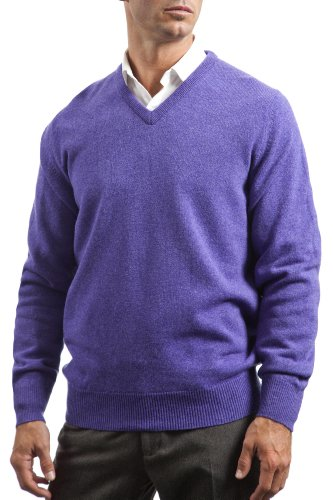 Great & British Knitwear Men's HM100 100% Lambswool V Neck Sweater. Made in Scotland (XXX-Large, Heliotrope) ()