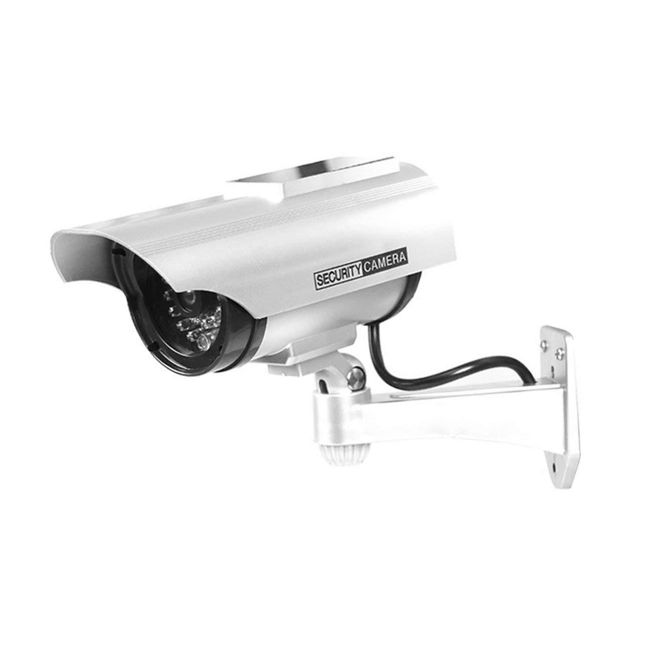 hengduolailin C/ámara de vigilancia Yz-3302 Solar Dummy Cctv Monitoreo de seguridad C/ámara falsa a prueba de agua Luz intermitente Rojo Led Luz C/ámara de seguridad de video