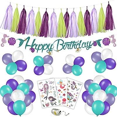 Phogary Kit de decoración de Fiesta de cumpleaños con Sirena ...