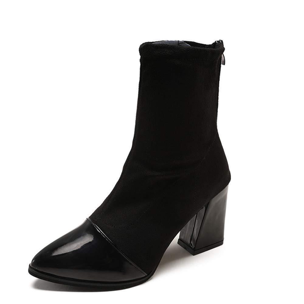 Qiusa High Heels Stiefel Kinder mit gleichem Absatz dick mit Stiefeletten Spitzen vaginalen Damenstiefel Leder 35 (Farbe   - Größe   -)