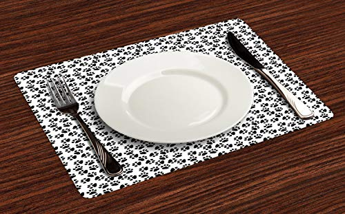 Ambesonne Paw Print Place Mats Set of 4, Animal Feet Sign Pattern in Monochromatic Style Dog Cat Puppy Kitten, Washable Fabric Placemats for Dining Table, Standard Size, White and Charcoal Grey