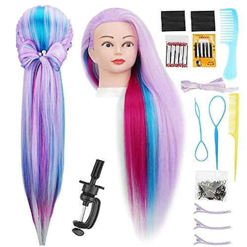 Cabeza  practica de peluqueria 75cm (purpura multicolor)+acc