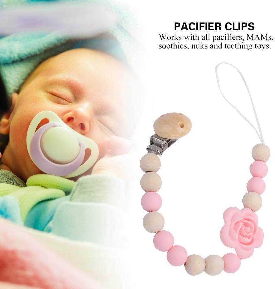 Rose Attache-sucette Infantile Clip en Bois Silicone Perle Dentition Titulaire de La Sucette pour Filles Gar/çons B/éb/é Douche Cadeau Jouet
