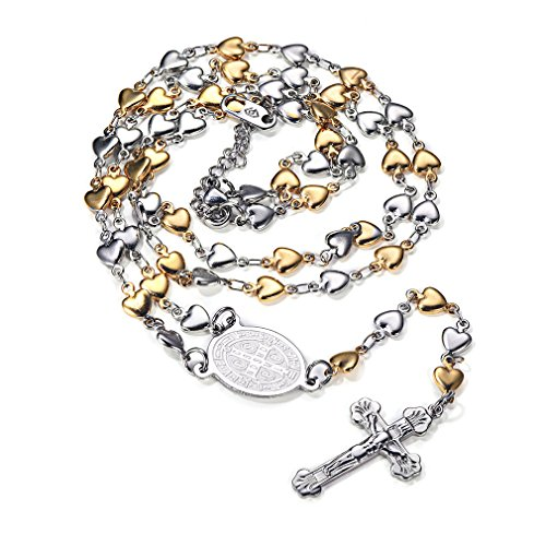 FaithHeart Christian St. Benedict Medal Heart Rosary Charms Stainless Steel Cross Long Chain Necklace (Gold) (Rosary Gold Necklace Chain)