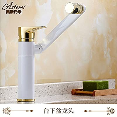 ETERNAL QUALITY Bathroom Sink Basin Tap Brass Mixer Tap Washroom Mixer Faucet The Copper Grill White Paint Pots of cold water faucet swivel Vanity basin mixer basin tap on the high Kitchen Sink Taps