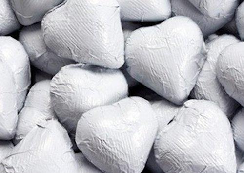 (White Foiled Milk Chocolate Hearts 1LB Bag)