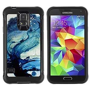 LASTONE PHONE CASE / Suave Silicona Caso Carcasa de Caucho Funda para Samsung Galaxy S5 SM-G900 / Wave Sea Ocean Blue Art Paint