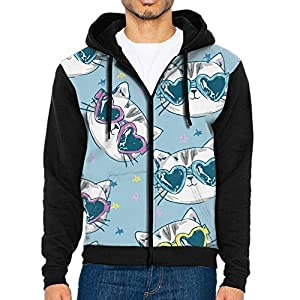 Men's Cat In Sunglasses Casual Pocket Sweatshirt Full-Zip Hoodie Crew Hooded Shirts Athletic Sportwear