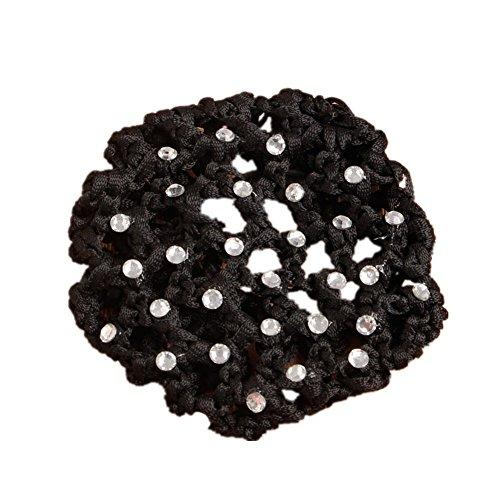 Ballet Covers Bun (Kocome Girls Rhinestone Bun Cover Crochet Snood Hair Net For Ballet Dance Skating (Black))