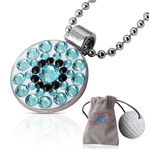 lifetoenjoy Golf Ball Marker Necklace for Women - Bonus: Velvet Pouch for safekeeping - Always Have Your Marker Easily Available - Beautiful Bling Aquamarine Crystals -with Super Strong Magnet