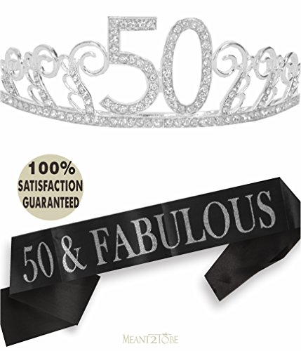 50th Birthday Tiara and Sash| Happy 50th Birthday Party Supplies | 50 & Fabulous Black Glitter Satin Sash and Crystal Tiara Birthday Crown for 50th Birthday Party Supplies and Decorations (Silver)