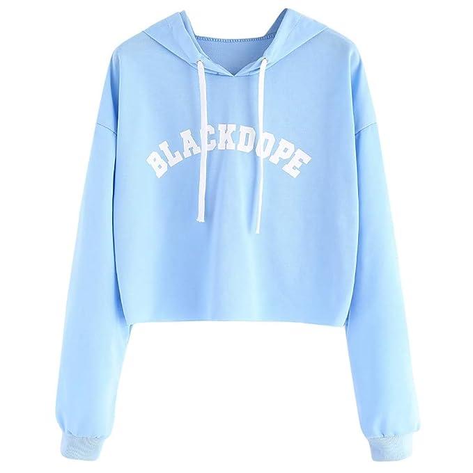 VESNIBA Womens Top Long Sleeve Letter Print Raw Hem Crop Sweatshirt Hoodie Blouse at Amazon Womens Clothing store: