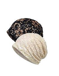 WELROG Sleep Cap for Chemo - Lace Headscarf Turban Cancer Printing Headwear for Women