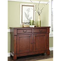 Wood Storage Cabinet Buffet With 2 Large Drawers, Adjustable Shelf, Extra Storage Space, Practical, Sturdy Construction, Ideas For Dining Room, Kitchen, Living Room, Cherry Finish + Expert Guide