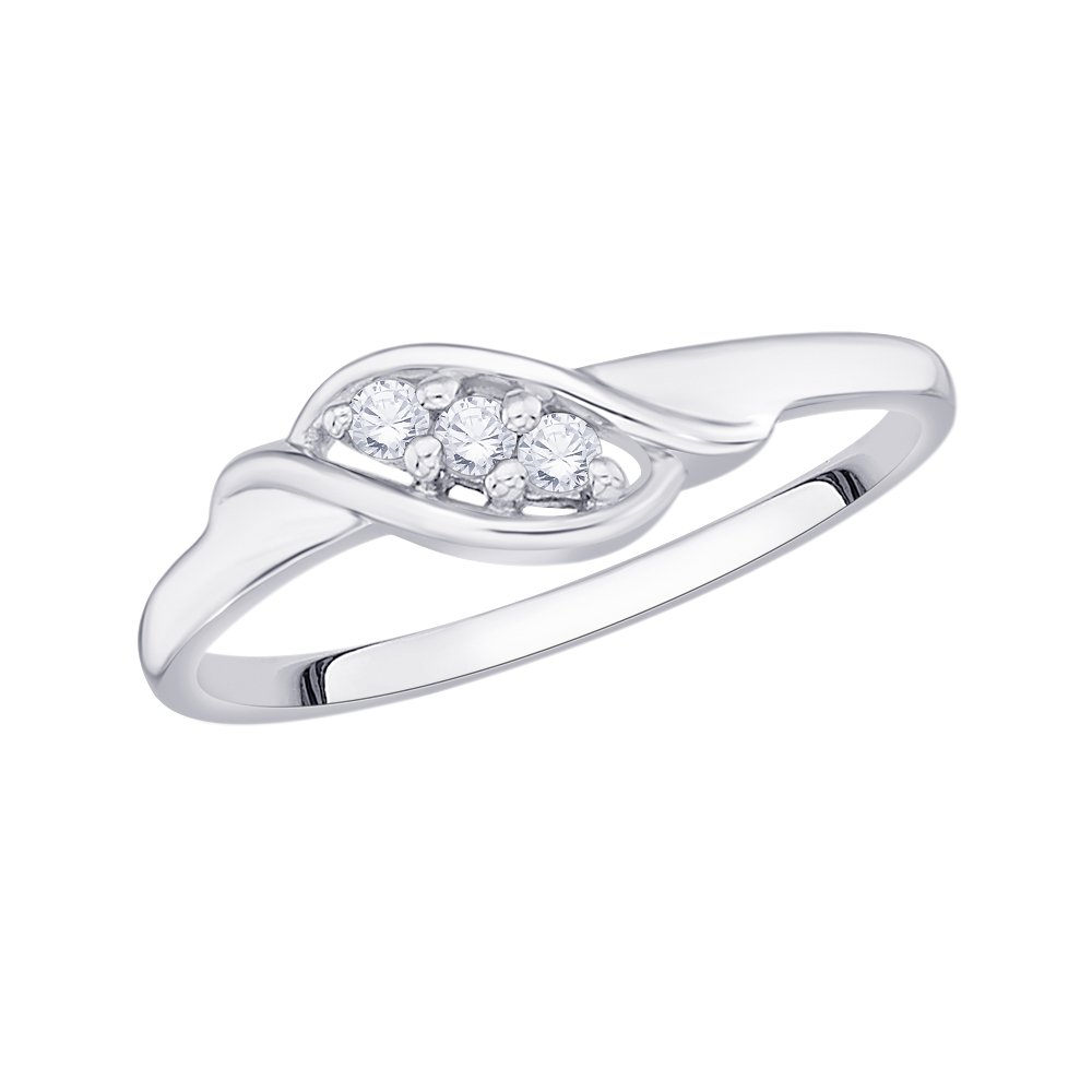 3 Diamond Promise Ring in Sterling Silver (1/10 cttw, Color GH, Clarity I2-I3) (Size-10.25)