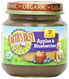 Earth's Best Organic Stage 2, Apples & Blueberries, 4 Ounce Jar (Pack of 12)