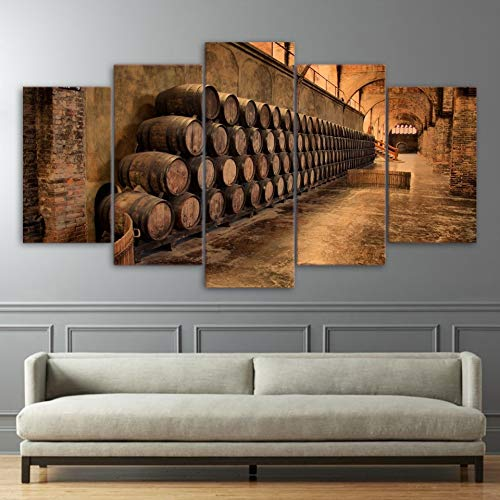 (sssxka 5 Pieces Wine Cellar Barrels Photo Canvas Painting Poster Prints Home Decor Wall Art Picture-40x60cmx2 40x80cmx2 40x100cmx1)
