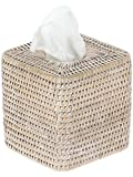 KOUBOO 1030056 La Jolla Rattan Square Tissue Box Cover, 5.5'' x 5.5'' x 5.75'', White Wash