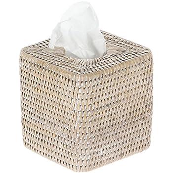 KOUBOO La Jolla Rattan Square Tissue Box Cover, White Wash
