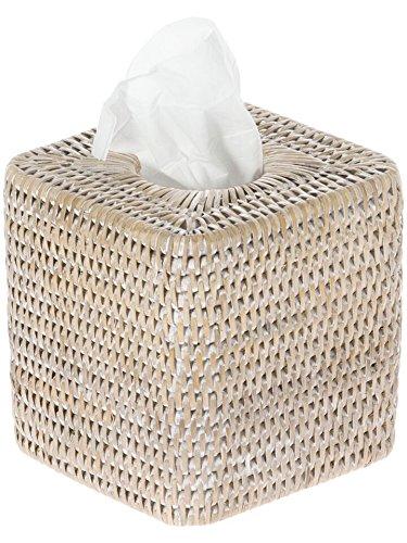 KOUBOO 1030056 La Jolla Rattan Square Tissue Box Cover, 5.5 x 5.5 x 5.75, White Wash