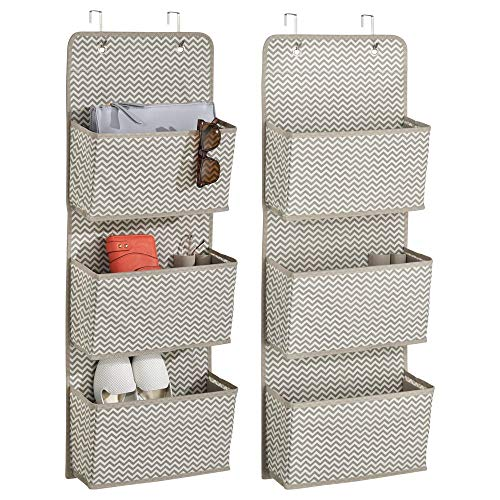 - mDesign Soft Fabric Over The Door Hanging Storage Organizer with 3 Large Pockets for Closets in Bedrooms, Hallway, Entryway, Mudroom - Hooks Included - Chevron Zig-Zag Print, 2 Pack - Taupe/Natural