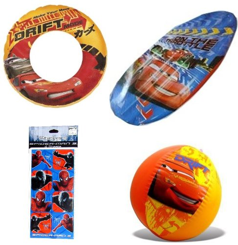 "Pixar Cars Kids Swim Toys (4 pieces): Swim Ring (20""), Be..."