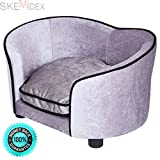 SKEMiDEX---Pet Lounge Sofa Dog Puppy Bed Soft Warm Ultra Plush Snuggle Cushion Gray. This super-soft pet bed with bolster is designed with comfort in mind The bolster is for your pet to rest