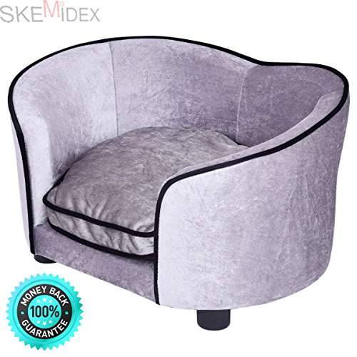 SKEMiDEX---Pet Lounge Sofa Dog Puppy Bed Soft Warm Ultra Plush Snuggle Cushion Gray. This super-soft pet bed with bolster is designed with comfort in mind The bolster is for your pet to rest by SKEMiDEX