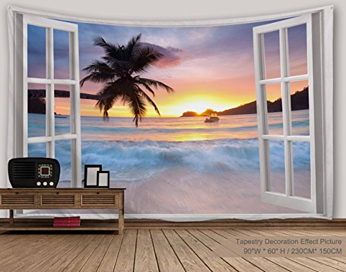 "XINYI Home Wall Hanging Nature Art Polyester Fabric Sea Beach Theme Tapestry, Wall Decor For Dorm Room, Bedroom, Living Room, Nail Included - 80"" W x 60"" L (200cmx150cm) - Waves Out Of Window"