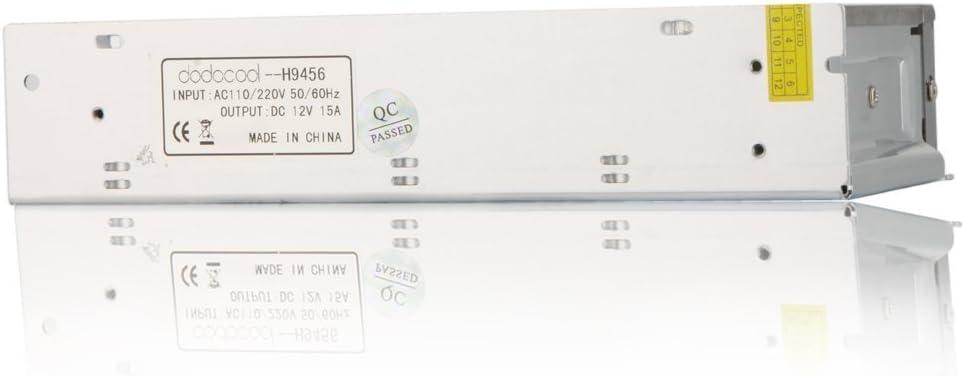 REFURBISHHOUSE Transformateur de puissance Commutateur de puissance AC 110V 220V A DC 12V 15A 180 pour bande de LED