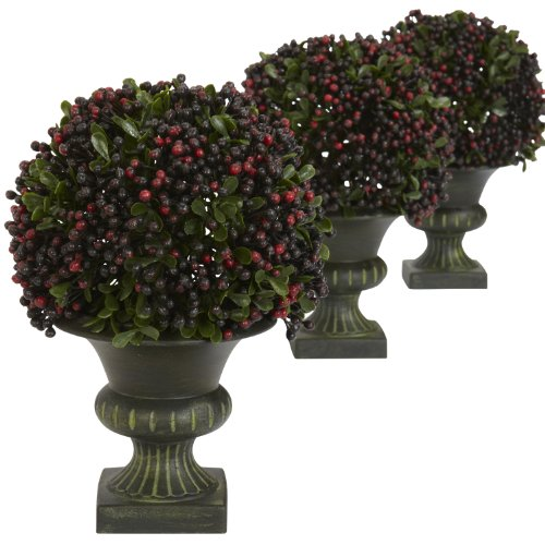 (Nearly Natural 4126 Pepper Berry Ball Topiary, Multicolor, Set of)